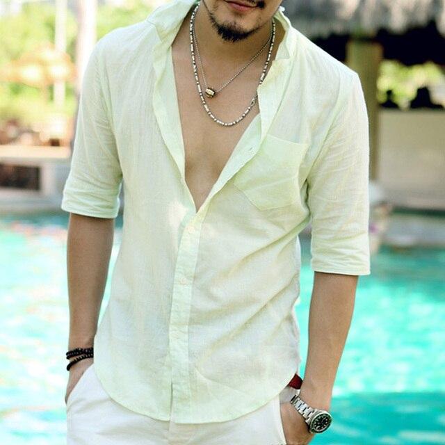 d1e8eabbd8dc Casual half sleeve Hawaiian Shirts Men Cotton Linen Designer Brand Slim Fit  Man short sleeve summer