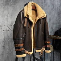 Men's Shearling Jacket B3 Flight Jacket Imported Wool From Australia Short Leather Jacket Mans Sheepskin Aviator Fur Coat
