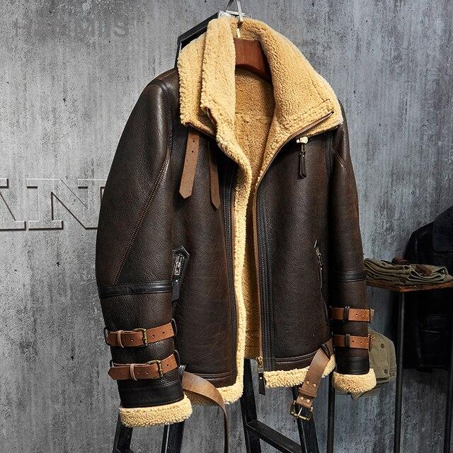 Men's Shearling Jacket B3 Flight Jacket Imported Wool From ...