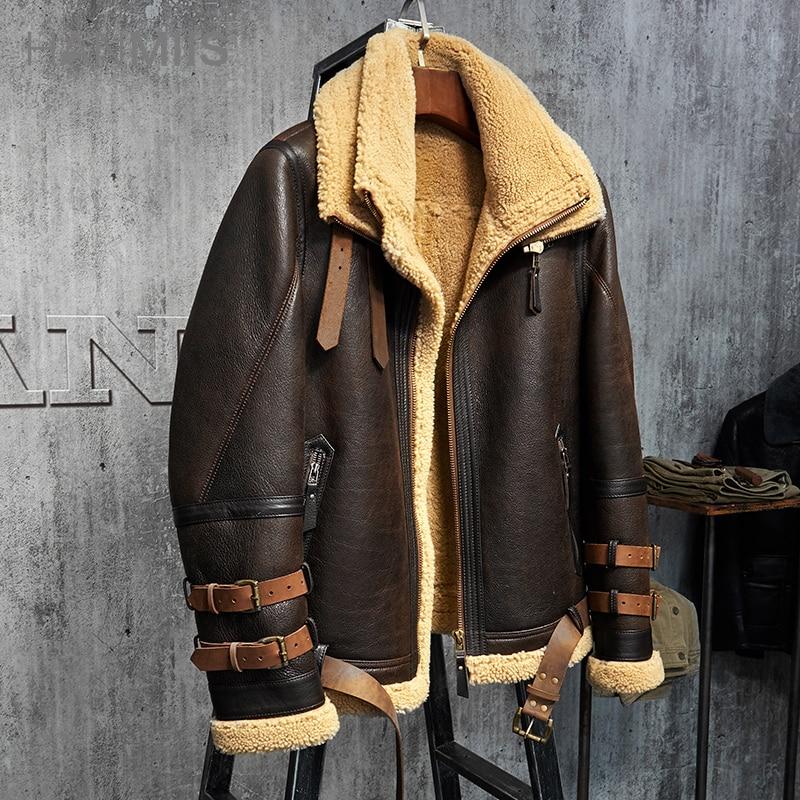 Mens Shearling Jacket B3 Flight Jacket Imported Wool From Australia Short Leather Jacket Mans Sheepskin Aviator Fur Coat