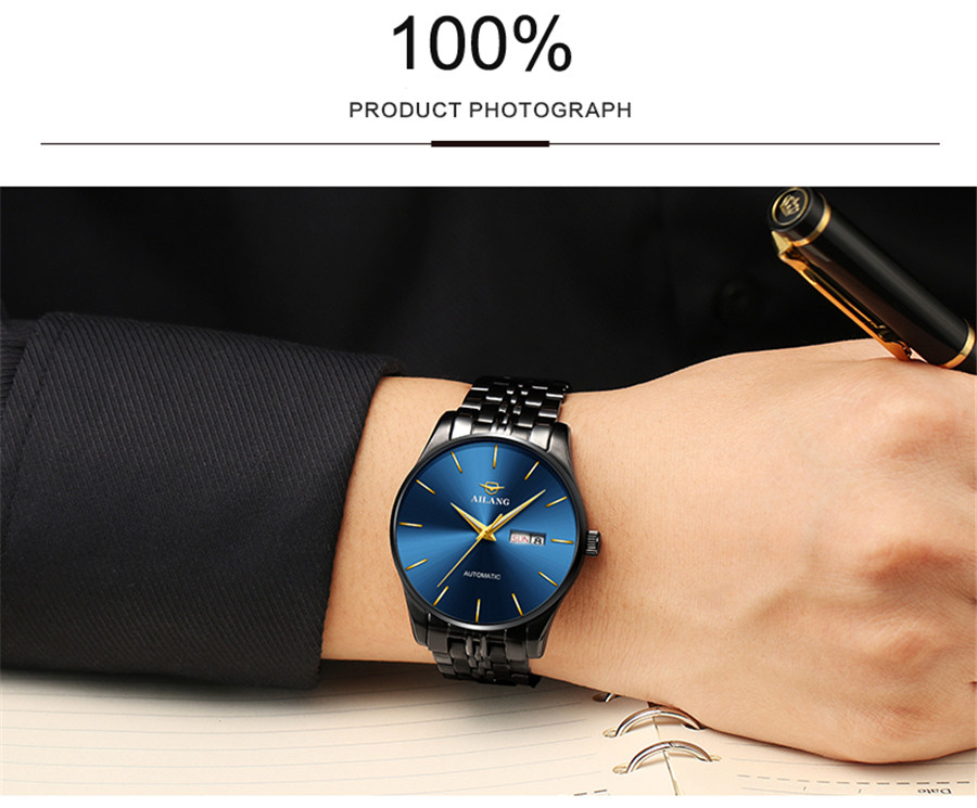 Uhr Business Männer Datum Clock Schwarz Stahl Herrenuhren Top marke Luxus Sport Automatische Mechanische uhr Blaues Zifferblatt NEUE-in Mechanische Uhren aus Uhren bei  Gruppe 3