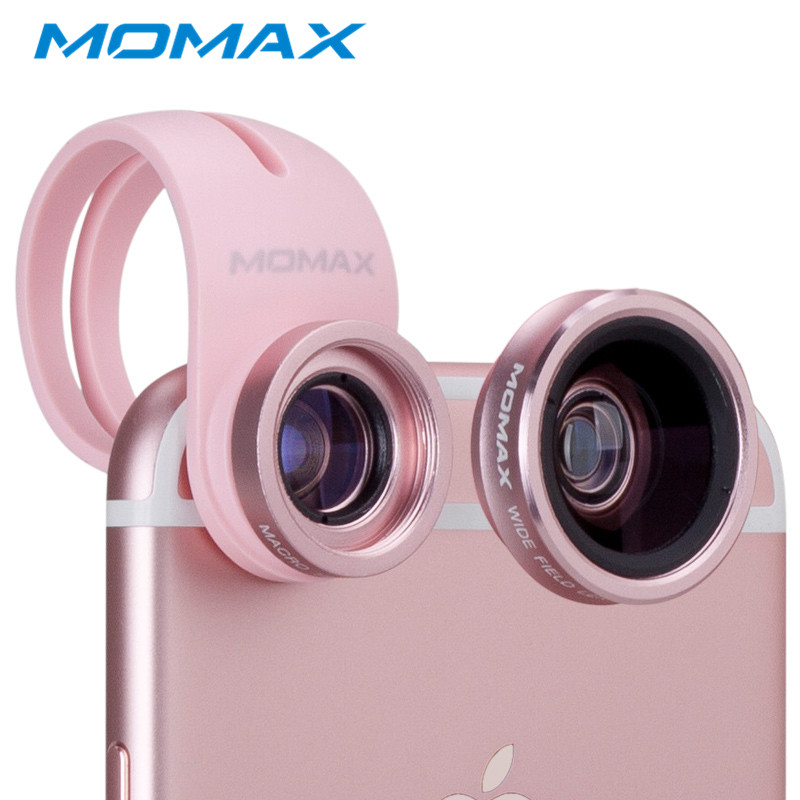 MOMAX Universal Clip-on Optic 2 in 1 Telefon Objektiv Micro 15X + Weitwinkel 120 grad Linsen für iPhone 8 7 plus Samsung Galaxy S9 S8