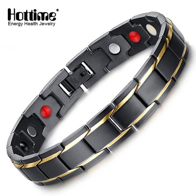 Hottime Luxury Fashion Health Energy Bracelet Bangle Men 316l Stainless Steel Bio Magnetic Bracelets Black