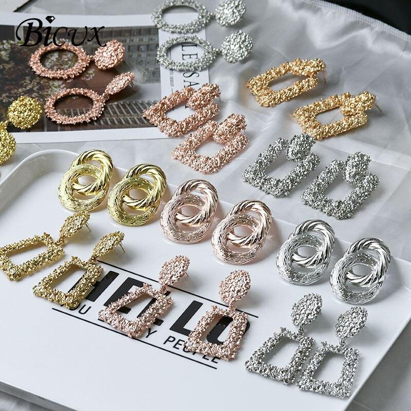 BICUX Fashion Gold Drop Earrings For Women Statement Big Geometric Metal Earring Women's Hanging Earrings 2019 Modern Jewelry