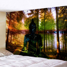 Indian Forest Buddha Meditation Tapestry Wall Hanging Mandala Tapestries Cloth Psychedelic Yoga Carpet Boho Decor