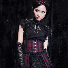 Victorian Gothic Top Sleeveless Lace Blouse BLACK 21223