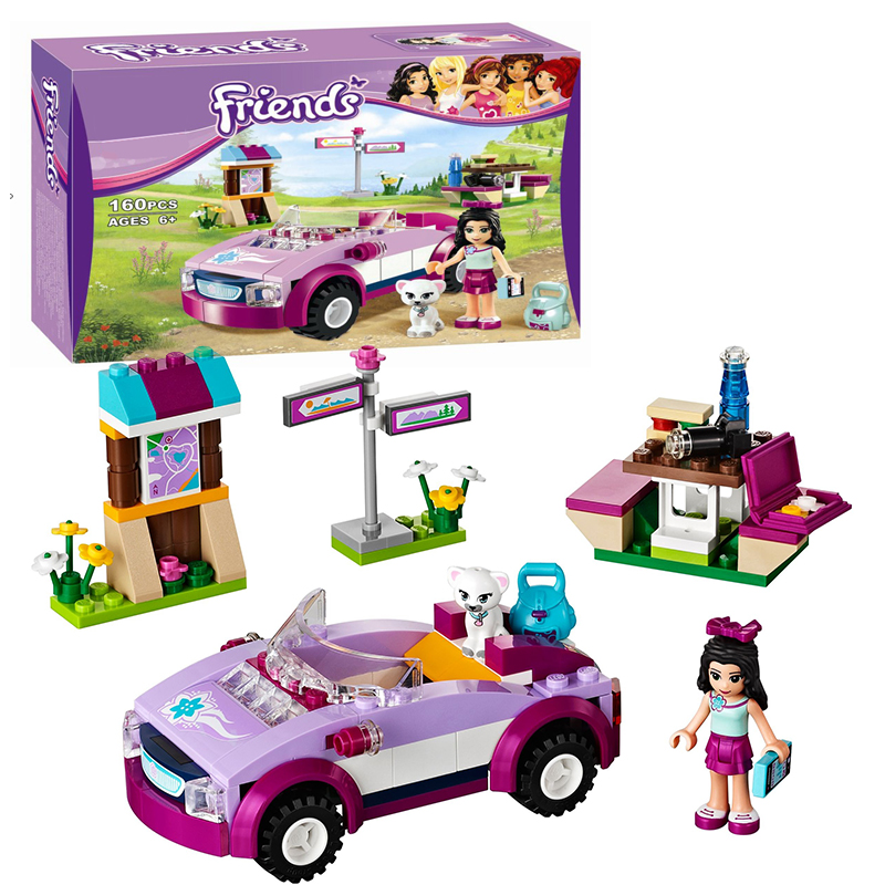 Bela 10154 Friends Emma's Sports Car building Blocks Bricks Toys Girl Game Toys for children Gift Decool Lepin 41013 lepin 22001 imperial flagship building bricks blocks toys for children boys game model car gift compatible with bela decool10210