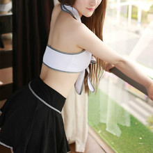 New Hot COSPLAY student uniforms Sexy lingerie women costumes Sex Products toy Sexy underwear Role play(white shirt+black dress)