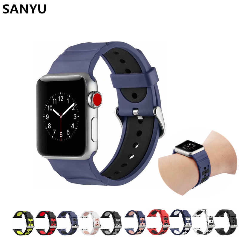 SANYU TwoColor Sport Band for iwatch Strap Silicone 38mm 40mm 42mm 44m Rubber Sport Bracelet for Apple Watch Band series 4 3 2 1 аксессуар ремешок apple watch 42mm activ terracotta sport band 79560