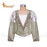 Customized Gold Men's Ballet Tunic Boy's Professional Ballet Costumes for Male Long Sleeve Ballet Jacket for performance BT794