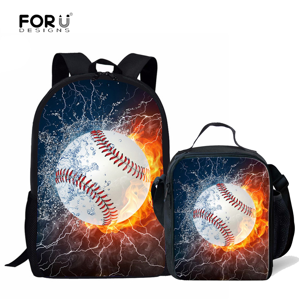 Forudesigns Children School Bags For Boys 3d Base Ball Printing Primary Students Book Bags Orthopedic Backpack 2pcs/set Mochilas Superior Materials Lights & Lighting
