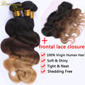 Brazilian Blonde Weave Bundles Ombre Human Hair 1B/4/27 Body Wave 8A Three Tone Ombre Hair Body Wave 3 Bundles With Lace Frontal