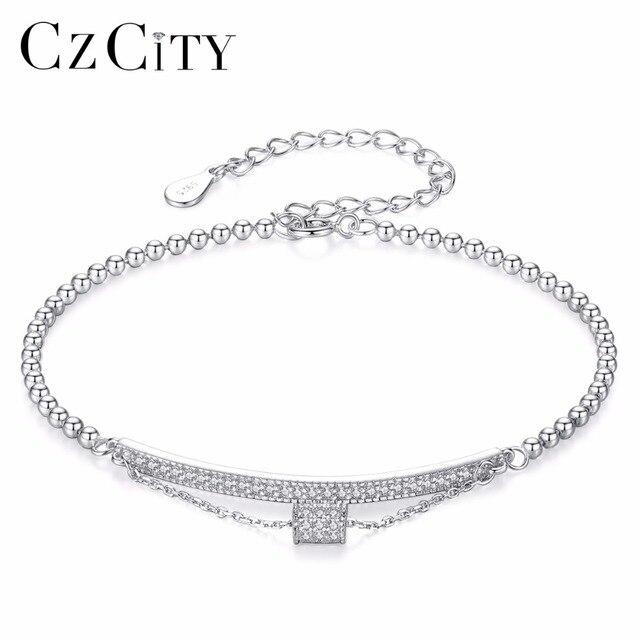 Czcity Brand The 925 Pure Silver Bracelet Jewelry Charm Bracelet