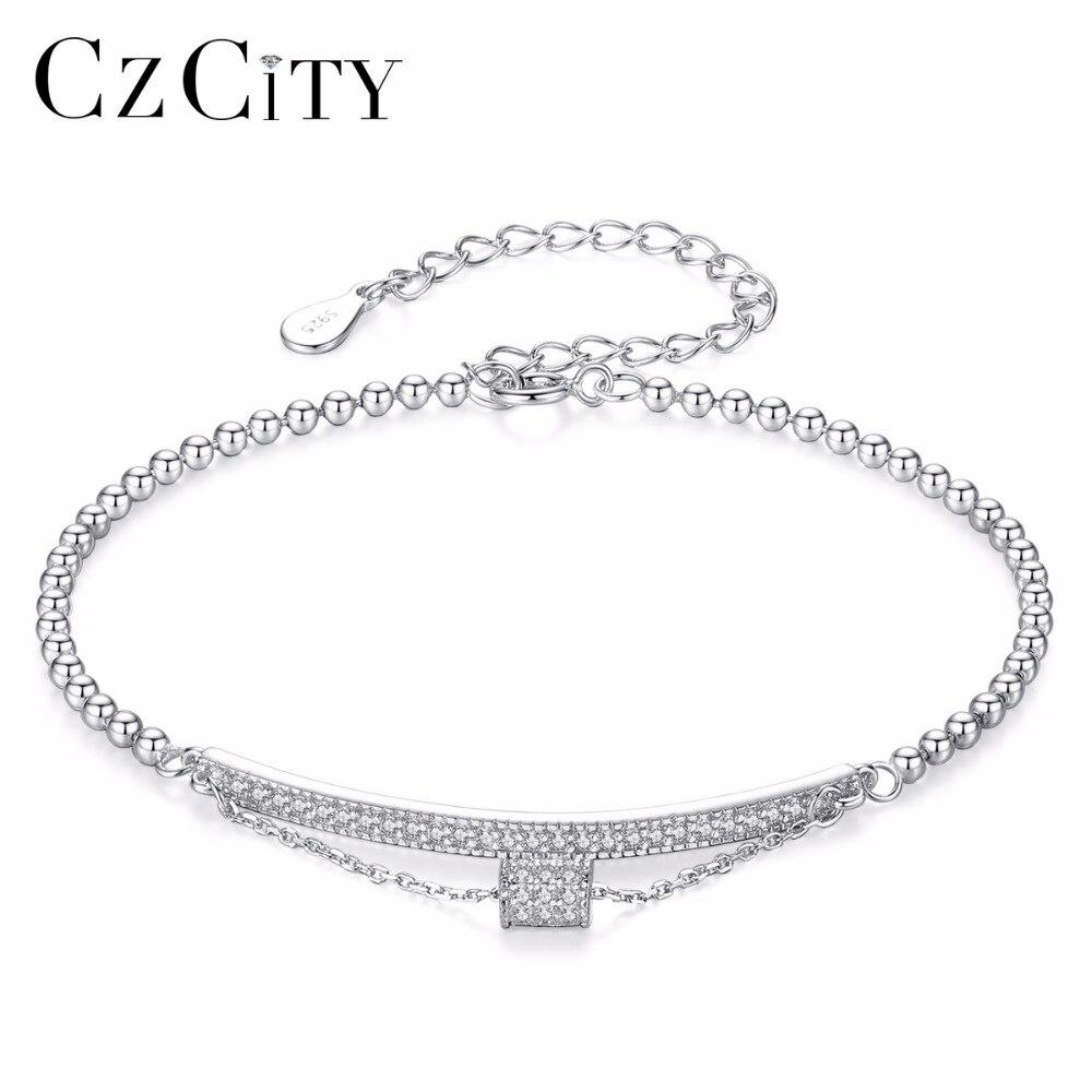 CZCITY Marque Le 925 Pur Bracelet En Argent Bijoux Charme Bracelet Simple Style Fille Cadeau Bijoux Délicat Chaîne Bracelet