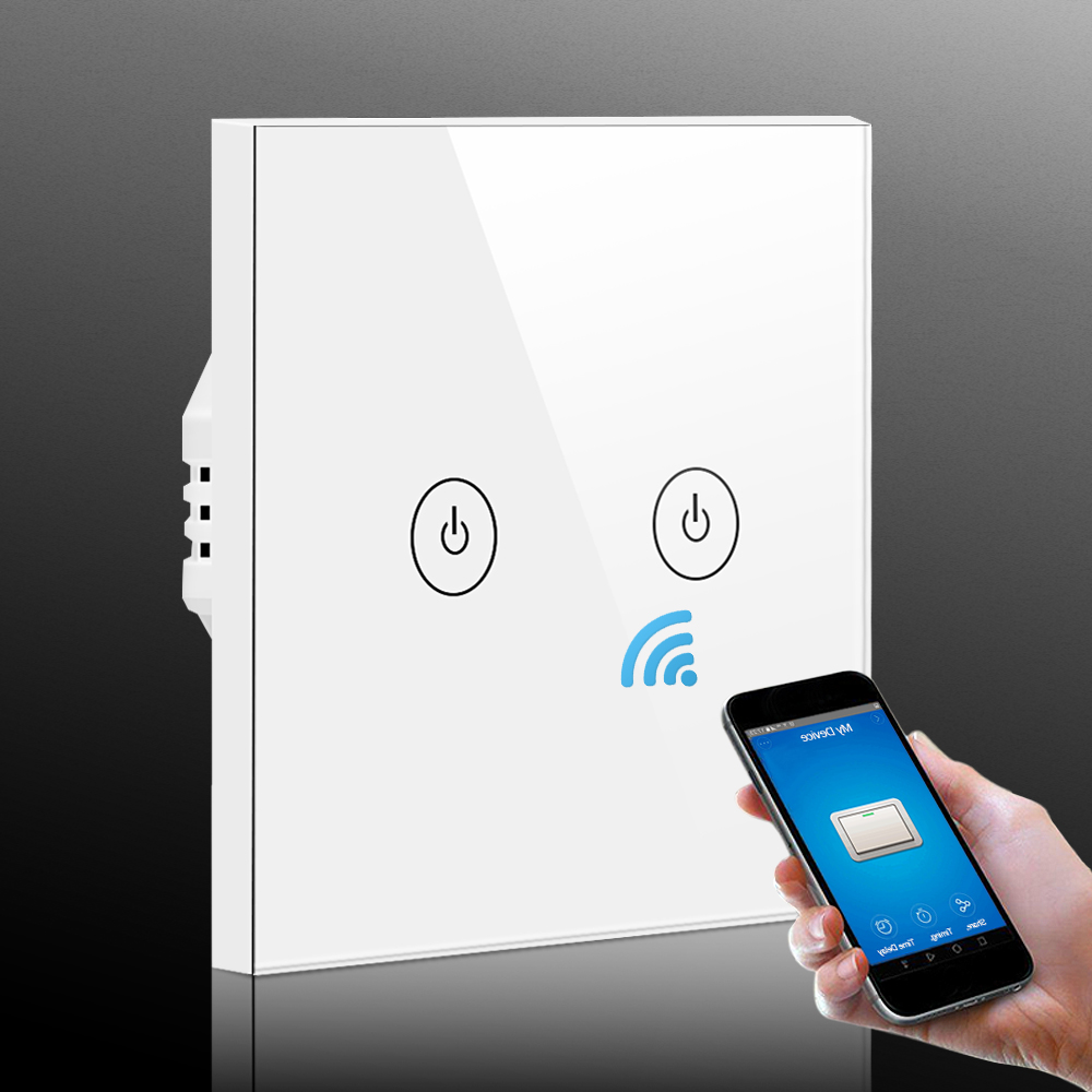 WiFi Smart Switch 2 CH Remote Control APP Work with Amazon Alexa Google Home Supported Timing Schedules Smart Light Wall Switch