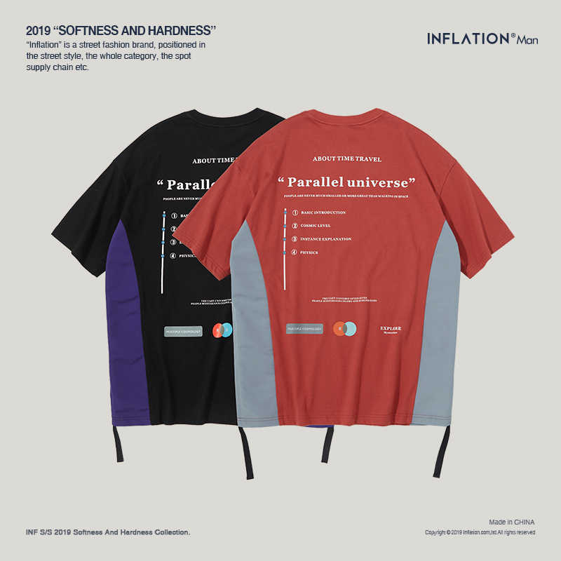 Мужская футболка в стиле пэчворк, Мужская хлопковая футболка с короткими рукавами, повседневная мужская футболка свободного кроя, уличная Летняя мужская футболка, 91152 S