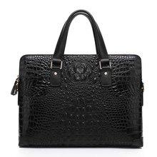 New men's Korean version of the handbag crocodile pattern leather briefcase authentic fashion men's casual shoulder bag cross