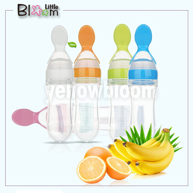 Baby Squeezing Feeding Spoon Silicone Training Scoop Rice Cereal Food Supplement Feeder