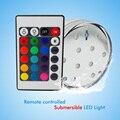 10 Unids con pilas del control Remoto RGB Led Sumergible boda Luz Subacuática IP68 Lámpara A Prueba de agua para La Piscina