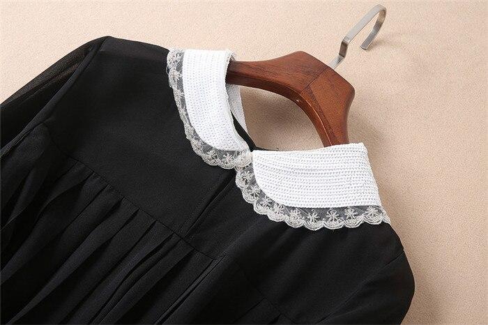 Multi Automne Qualité Vêtements Blanc Xl Marque Style Robes Top Genou Robe Col Haute Femmes Noir Taille Piste Longueur Plissée wrqw8RU
