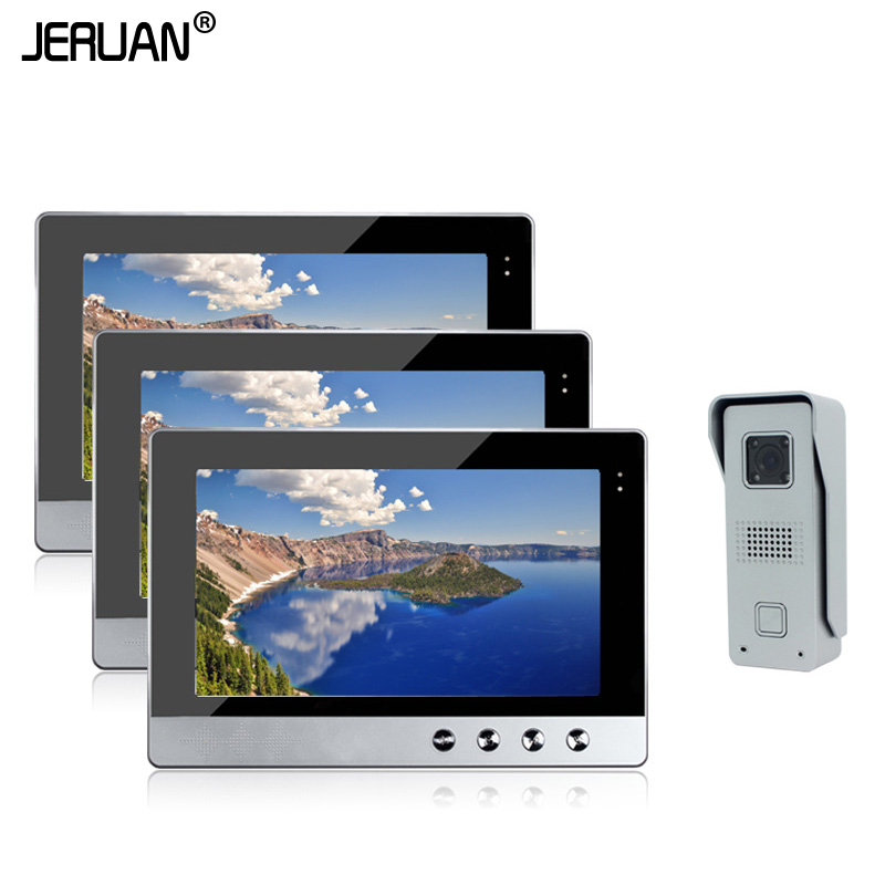 JERUAN Brand New Wired 10 inch LCD TFT Video Intercom Door Phone System + Night Vision Outdoor Camera + 3 Screens Free Shipping