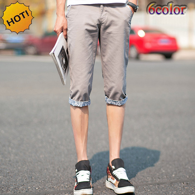 Summer Style 2016 Thin Casual Slim Fit Khaki Capri leisure trousers Mens Students Leg Cuffed flanging Boys Street Pantalon Homme