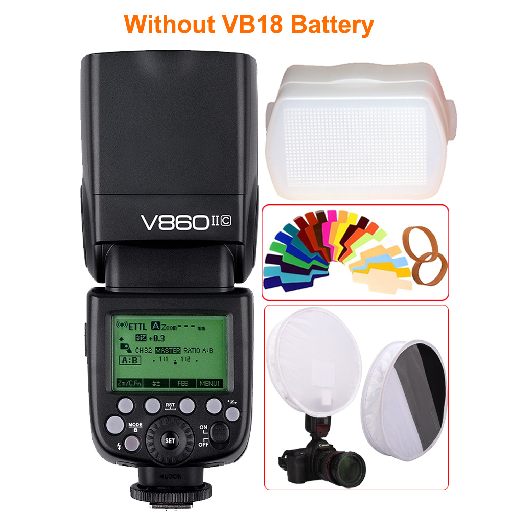 Godox Ving V860II V860II-C/N/S E-TTL HSS 1/8000 Without VB18 Battery Speedlite Flash for Canon Nikon Sony Olympus Panasonic Fuji 2pcs godox v860ii ttl speedlite flash gn60 hss 1 8000s with li ion battery x1t c n f s for canon nikon sony fujifilm olympus