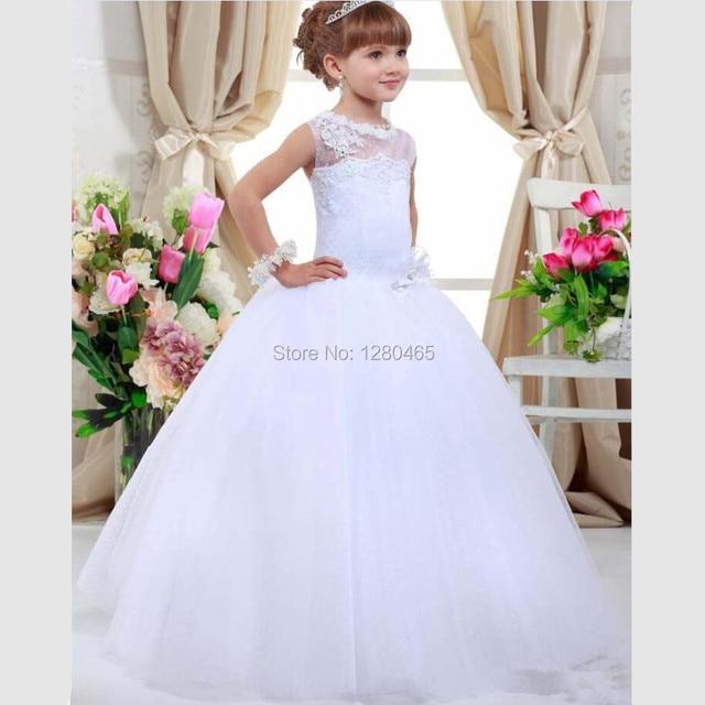 524194d085 Komunii świętej Sukienki Komunijne Sukienki dla Dziewczynek Flower Girl  Dresses na Wesela z Koronki i Olśniewająca