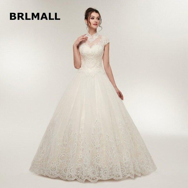 2018 New Illusion Wedding Dresses A Line Tulle Applique Cap Sleeve Lace up  Plus Size Custom Made Formal Bridal Gowns 1de03e30038c