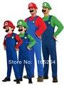 Костюм Супер Марио с шапкой и усами. Взрослый и детский размер. Красный (Марио) и зелёный (Луиджи) цвета.