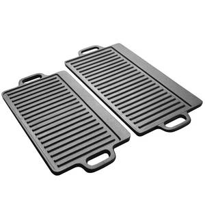 Bbq-Grill-Tool Barbecue-Plate Cast-Iron Rectangular Double-Sided Meat Roasting Pans Steak-Pan