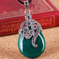 Silk Princess 925 Sterling silver green necklace Vintage Bangkok old red Agate Pendant red flower ornament Genuine Jewelry