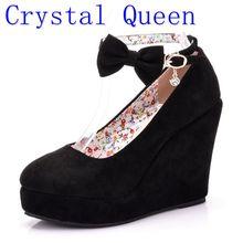 Crystal Queen Vrouwen Hoge Hakken Schoenen Mode Gesp Wiggen Dames Platform Gesp Bowtie Pompen Voor Vrouw Plus Size Trouwschoenen