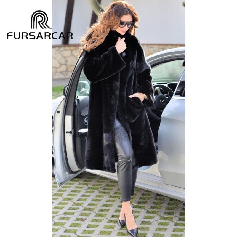 Avec Col Femelle Top 2018 De Vison Réel Street Fursarcar Femmes Véritable Manteau Fourrure Qualité Naturel Black Nouvelle Luxe High agZgnqwT