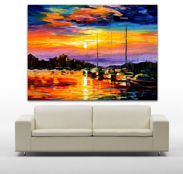 Hand Painted Palette Knife Oil Painting Sail Boat Painting Impressionists Paintings Canvas Wall Art for Living Room Home Decor