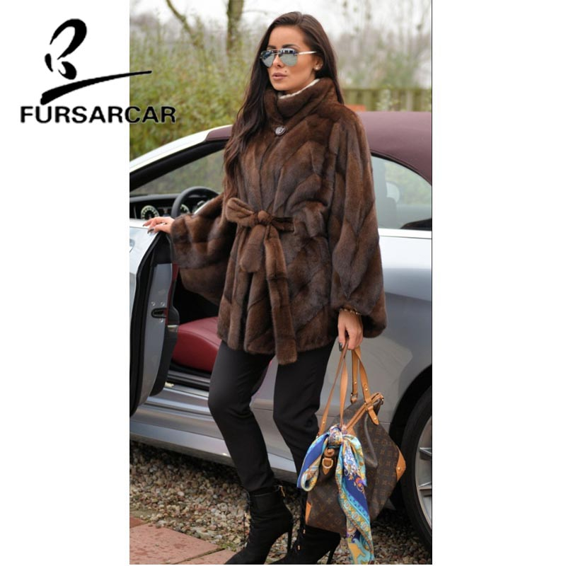 Image 4 - FURSARCAR Women Natural Real Mink Fur Coat With Stand Collar Bat Sleeved Thick Warm Genuine Fur Coat Luxury Female Garment 2019-in Real Fur from Women's Clothing
