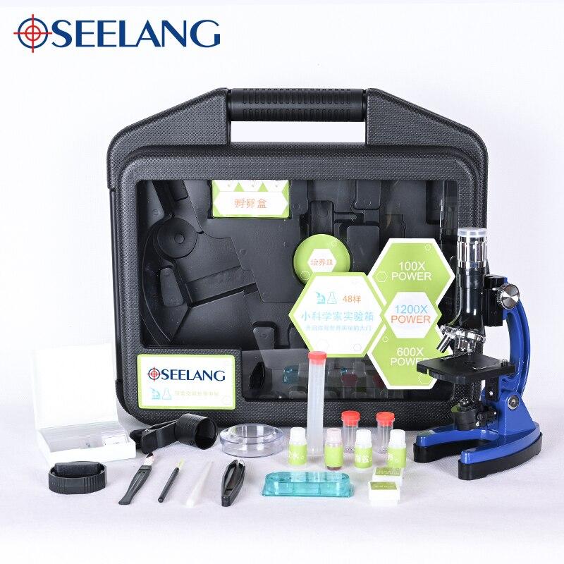 Kit de Microscope OSEELANG LED de laboratoire 100X-600X-1200X maison école Science jouet éducatif cadeau Microscope biologique enfants enfant enseigner
