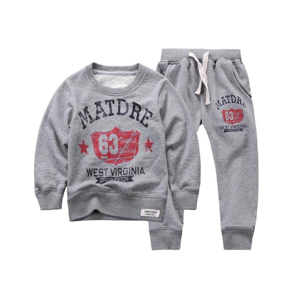 2015 New Autumn Winter kids Boy/Girls Sweatshirts hoodies Set 100%Cotton ,Letter printed Crew Neck for Wholesale&Retail