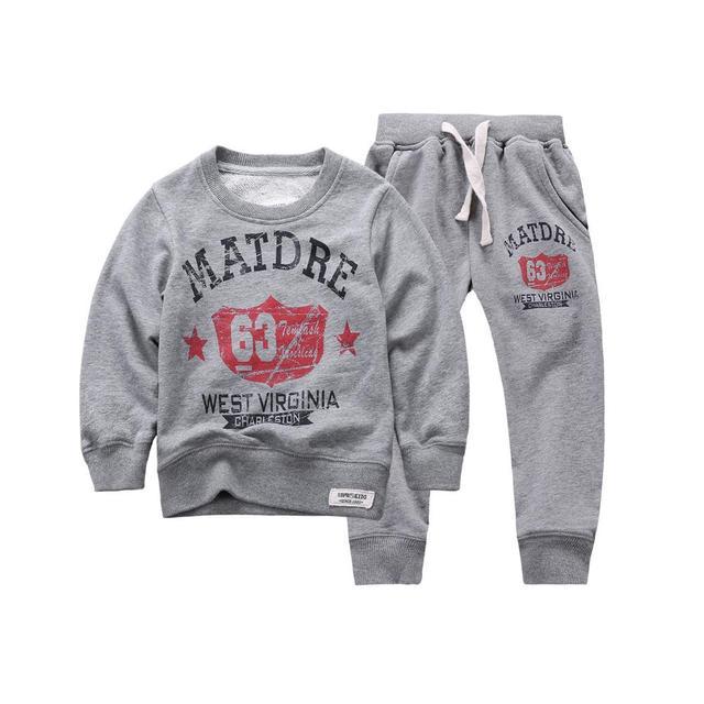 2015 New Autumn Winter kids Boy/Girls Sweatshirts hoodies Set 100%Cotton ,Letter printed Crew Neck for Wholesale&Retail