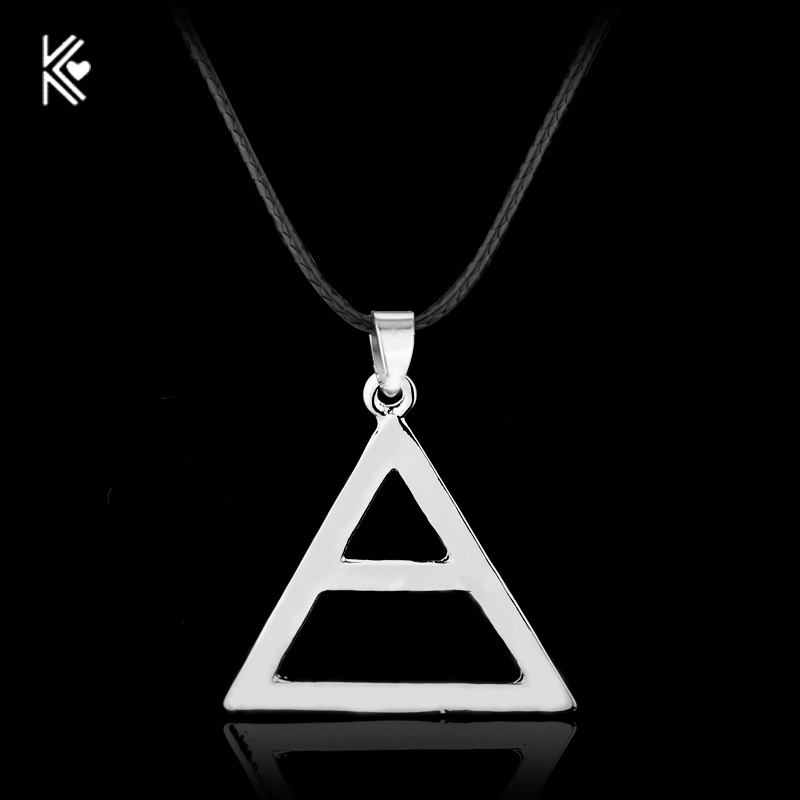 Rock Style 30 Seconds To Mars Band Symbol Silver Plated Pendant Necklace Boutique Hollow Triangle Statement Necklace Wholesale