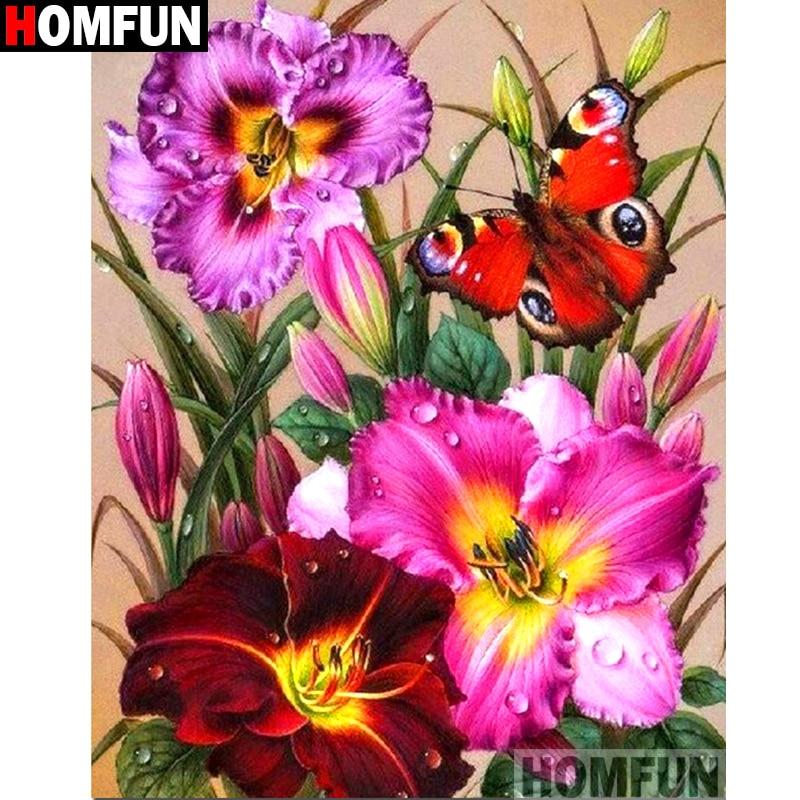 """HOMFUN полная квадратная/круглая дрель 5D DIY Алмазная картина """"Цветочная бабочка"""" 3D вышивка крестиком 5D домашний декор A13711"""