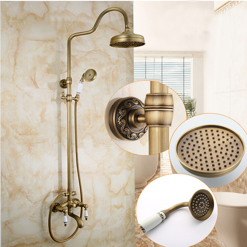 Wholesale And Retail Antique Brass Round Shower Head Ceramic Dual Handles  Rainfall Shower Faucet Brass Mixer