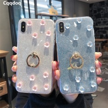 Cqqdoq Glitter Flower Stand Case For iPhone 6 6S 7 8 Plus Finger Ring Holder Protection Cases X XR XS MAX Soft Fundas