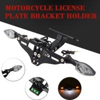 Motorcycle License Number Plate Frame Led Indicator Light Holder Bracket FOR KAWASAKI Ninja 250 300 650 H2R ZX6R Z750 Z800 Z1000
