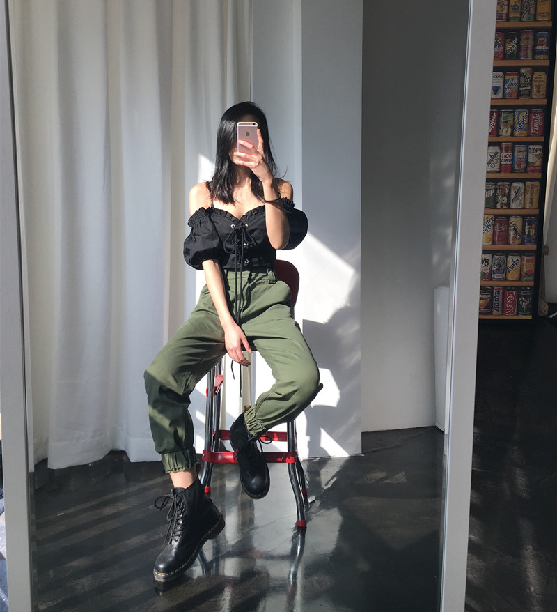 High waist loose joggers army pants street wear black cargo pants trousers 14