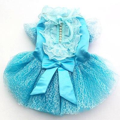 Pet Dog Wedding Dress Big Bow Lace Tutu Cat Puppy Princess Dresses Skirt Party Apparel 5 Sizes 4 Colours