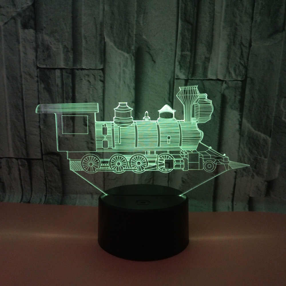 Starożytny pociąg Model 3D lampka nocna z USB nowość urodziny prezenty 7 kolory zmieniające się stołowa lampa LED lampa jako dekoracje do wnętrz do sypialni