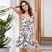 2019 Fashion Small Broken Flower Sling V-collar Dress Back Sexy Lotus Leaf Edge Sleeveless Girdle Womens Summer