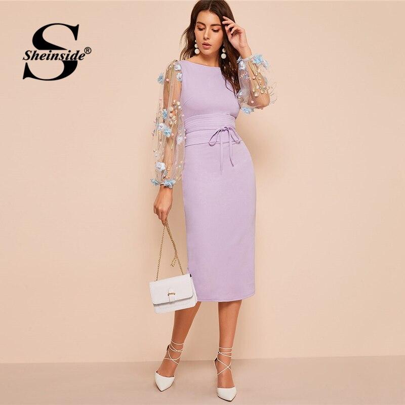 0c79eecb12 Sheinside elegancki haftowane aplikacja siatki rękawem sukienka kobiety 2019  wiosna latarnia rękaw Bodycon sukienki damskie z