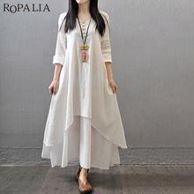 ROPALIA Women Summer Boho Style Dress V-Neck Solid Loose Linen Long Sleeve Long Dress Vestidos Multilayer Draped Button Dress недорого